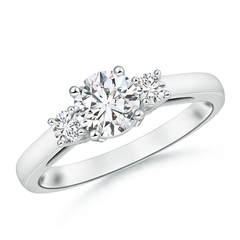 Round Diamond Past Present Future Engagement Ring