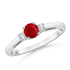 Round Ruby Past Present Future Engagement Ring