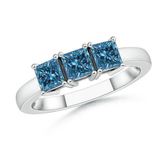 3 Stone Princess Cut Enhanced Blue Diamond Engagement Ring