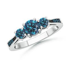 Cathedral 3 Stone Round Enhanced Blue Diamond Engagement Ring