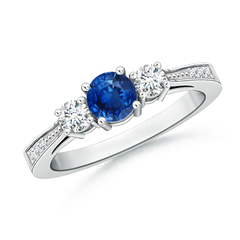 Cathedral Three Stone Round Sapphire Engagement Ring