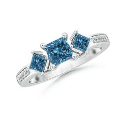 Princess Cut Three Stone Enhanced Blue Diamond Engagement Ring