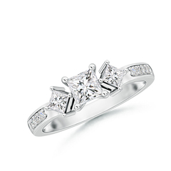Princess Cut Three Stone Diamond Engagement Ring