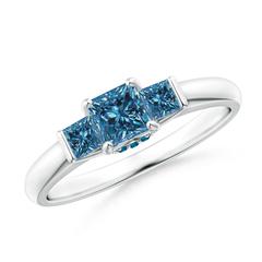 Classic 3 Stone Princess Cut Enhanced Blue Diamond Engagement Ring
