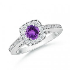 Round Amethyst Halo Ring with Cushion Milgrain Detailing