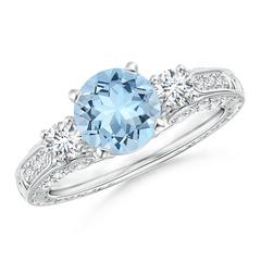 Three Stone Round Aquamarine and Diamond Ring with Accents