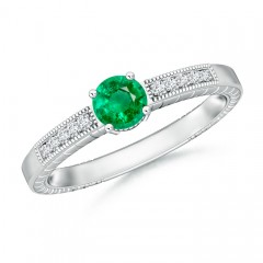 Round Emerald Solitaire Ring with Milgrain Detailing