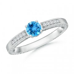 Round Swiss Blue Topaz Solitaire Ring with Milgrain Detailing