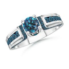 Vintage Inspired Round Enhanced Blue Diamond Engagement Ring