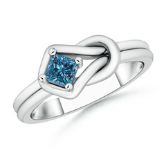 Princess-Cut Solitaire Enhanced Blue Diamond Infinity Knot Ring