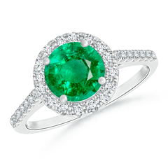 Round Emerald Halo Ring with Diamond Accents