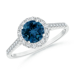 Round London Blue Topaz Halo Ring with Diamond Accents