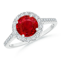 Round Ruby Halo Ring with Diamond Accents