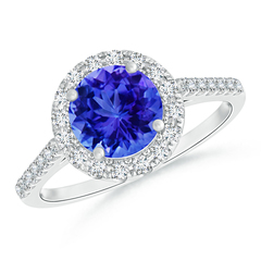 Round Tanzanite Halo Ring with Diamond Accents