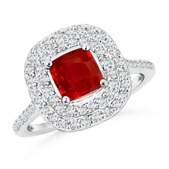 Cushion Ruby Floating Halo Engagement Ring with Diamond Accents