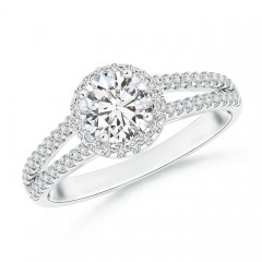 Split Shank Round Diamond Halo Engagement Ring