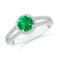 Twin Shank Emerald Halo Ring with Diamond Accents