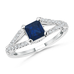Split Shank Square Sapphire Ring With Diamond Accents