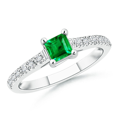Solitaire Square Emerald Ring with Diamond Accents