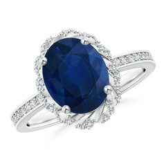 Oval Blue Sapphire and Diamond Halo Ring with Prong Set