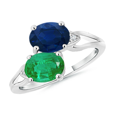 Two Stone Oval Emerald and Sapphire Split Shank Ring