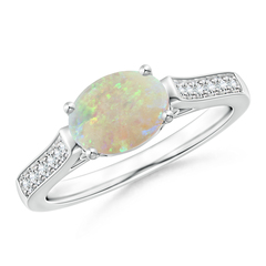 East West Set Oval Opal Solitaire Ring with Diamond Accents