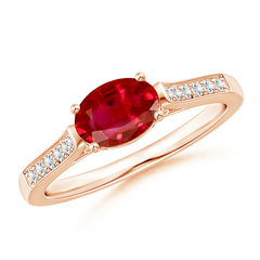 East West Set Oval Ruby Solitaire Ring with Diamond Accents
