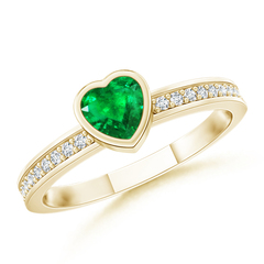 Bezel Heart Emerald Promise Ring with Diamond Accents