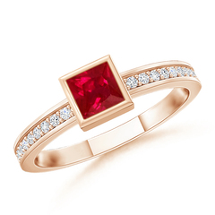 Bezel-Set Square Ruby Stackable Promise Ring