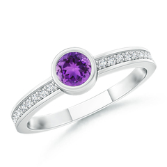 Bezel Round Amethyst Stackable Ring with Diamond Accents