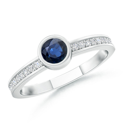 Bezel Round Sapphire Stackable Ring with Diamond Accents