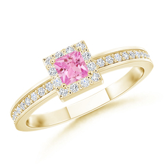 Square Pink Sapphire Stackable Ring with Diamond Halo