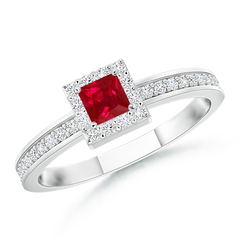 Square Ruby Stackable Ring with Diamond Halo