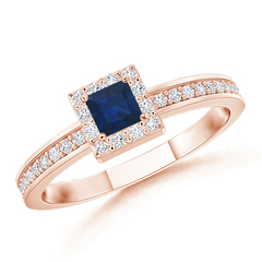 Square Blue Sapphire Stackable Ring with Diamond Halo