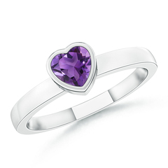 Bezel-Set Solitaire Heart Amethyst Promise Ring