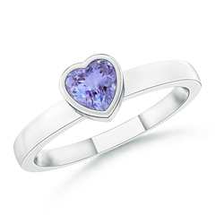 Bezel-Set Solitaire Heart Tanzanite Promise Ring