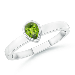 Bezel-Set Solitaire Pear Peridot Stackable Ring