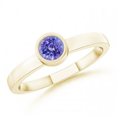 Bezel-Set Solitaire Round Tanzanite Stackable Ring