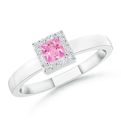 Square Pink Sapphire Halo Promise Ring with Diamonds