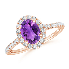 Oval Amethyst Halo Ring with Diamond Accents