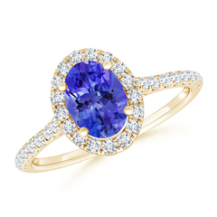 Oval Tanzanite Halo Ring with Diamond Accents