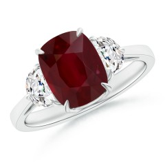 Ruby and Diamond 3 Stone Ring (GIA Certified Ruby)