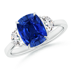 Sapphire and Diamond 3 Stone Ring (GIA Certified Sapphire)