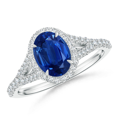 Vintage Split Shank Oval Sapphire Ring with Diamond Accents