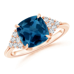 Cushion London Blue Topaz Ring with Cluster Diamond Accents