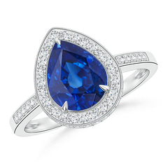 Vintage Pear Blue Sapphire Halo Ring with Diamond Accents