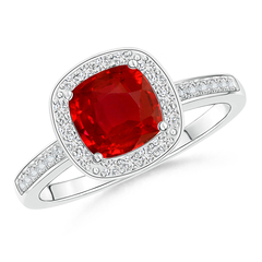 Cushion-Cut Ruby Engagement Ring with Diamond Accents