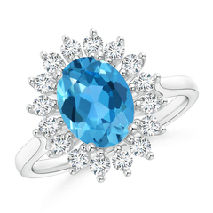Oval Flower Swiss Blue Topaz and Diamond Halo Ring