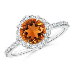 Claw-Set Vintage Diamond Halo Round Citrine Ring