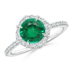 Emerald and Diamond Halo Ring (GIA Certified Emerald)